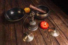 Tibetian-Instrumente für Musikmeditation stockfoto