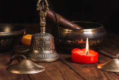 Tibetian-Instrumente für Musikmeditation lizenzfreie stockfotos