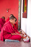 Tibetian lama is prayingat Ramtek Monastery Stock Photography