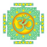Tibetian openwork mandala, elegant circular ornament with the Om / Aum / Ohm sign in the center. Vector graphics. royalty free stock images
