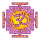 Tibetian openwork mandala, elegant circular ornament with the Om / Aum / Ohm sign in the middle on a red, purple and orange colo royalty free stock photos