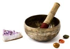 Tibetian singing bowl isolated on white Royalty Free Stock Photo