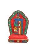 Tibetian souvenir on a white background. Buddism. Buddhism, souvenir, south india, religion, clay, white background, red and green souvenir stock photos