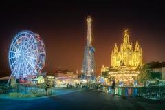 Tibidabo和游乐园在晚上,巴塞罗那 免版税图库摄影