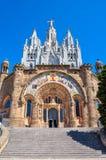 Tibidabo大教堂,巴塞罗那,西班牙 免版税库存照片