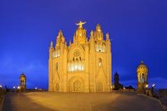 Tibidabo寺庙耶稣圣心 免版税库存图片
