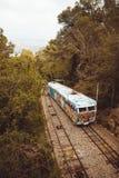 Tibidabo缆索铁路在巴塞罗那,卡塔龙尼亚,西班牙 图库摄影