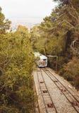 Tibidabo缆索铁路在巴塞罗那,西班牙 免版税库存照片
