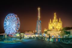Tibidabo and amusement park at night, Barcelona. Temple of the Sacred Heart of Jesus Tibidabo Barcelona and amusement park at night, Spain royalty free stock photography