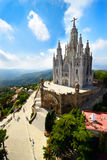 Tibidabo church. On mountain in Barcelona with christ statue overviewing the city Stock Photography