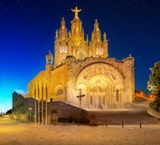 Tibidabo church on mountain in Barcelona Royalty Free Stock Images