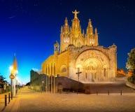 Tibidabo church on mountain in Barcelona Stock Images