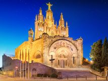 Tibidabo church on mountain in Barcelona Royalty Free Stock Image