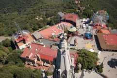 Tibidabo church, sagrado corazon. Church in the background, under blue sky, attractions parrk, colors, entertaiment, and much more in the tibidabo mountain Royalty Free Stock Images