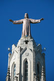 Tibidabo - Jesus Christ. Sculpture of Jesus Christ at the top of the church Royalty Free Stock Photos