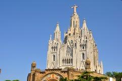 Tibidabo kyrka i Barcelona, Spanien. Arkivbild