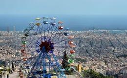 Tibidabo nöjesfält - Barcelona, Spanien Arkivbild