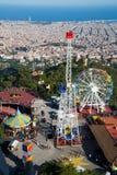 Tibidabo nöjesfält i Barcelona Fotografering för Bildbyråer