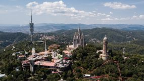 Temple Sacred Heart of Jesus on Tibidabo in Barcelona, Spain stock image