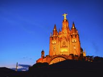 Tibidabo Temple in Barcelona Stock Photography
