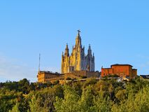 Tibidabo Temple in Barcelona Royalty Free Stock Images