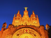 Tibidabo Temple in Barcelona Royalty Free Stock Photos