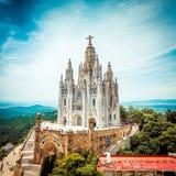 Tibidabokerk op berg in Barcelona Stock Foto's