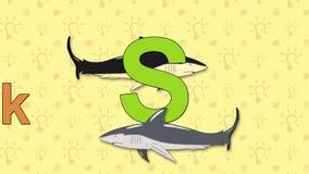 Tiburón Alfabeto inglés del PARQUE ZOOLÓGICO - letra S ilustración del vector