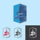 Tiburón azul de la cuchilla de la espada con la bandera para la plantilla del logotipo Imágenes de archivo libres de regalías