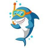 Tiburón con el equipo de buceo Imagen de archivo libre de regalías