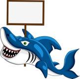 Tiburón con la muestra en blanco Fotografía de archivo libre de regalías