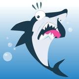 Tiburón divertido en la expresión del repugnancia Imagen de archivo libre de regalías