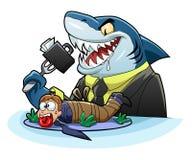 Tiburón hambriento del negocio Fotografía de archivo