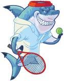 Tiburón malo del jugador de tenis de la historieta con la estafa y la bola Foto de archivo
