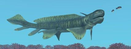 Tiburón prehistórico Orthacanthus stock de ilustración