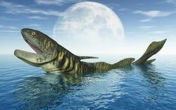 Tiburón prehistórico Orthacanthus delante de la luna stock de ilustración