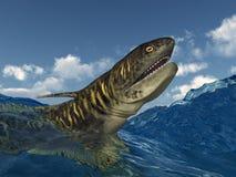 Tiburón prehistórico Orthacanthus en el mar tempestuoso stock de ilustración