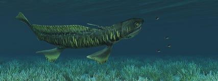 Tiburón prehistórico Orthacanthus y anémonas de mar ilustración del vector