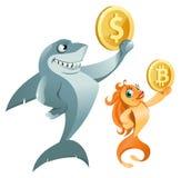 Tiburón que lleva a cabo símbolo del dólar y pez de colores que lleva a cabo símbolo del bitcoin Foto de archivo libre de regalías