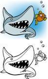 Tiburón que persigue el conjunto del goldfish Imágenes de archivo libres de regalías