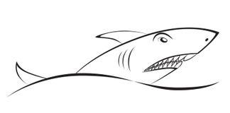 Tiburón sobre una onda Dibujo gráfico Símbolo del elemento, muestra Fotos de archivo