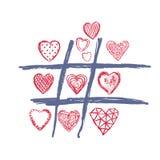 Tic TAC脚趾,爱乱画心脏,情人节 免版税图库摄影