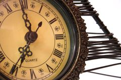 Tic-tac. Old metal clock showing time Stock Photo