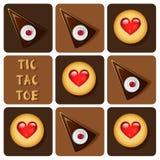 Tic-TAC-dito del piede del biscotto e del dolce Immagini Stock Libere da Diritti