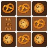 Tic-TAC-dito del piede del biscotto e della ciambellina salata Fotografie Stock Libere da Diritti