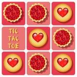 Tic-TAC-dito del piede del biscotto e della crostata Fotografia Stock Libera da Diritti