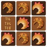 Tic-TAC-dito del piede del croissant del cioccolato e della fragola Fotografie Stock Libere da Diritti