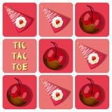 Tic-TAC-dito del piede del dolce coperto di cioccolato della fragola e della ciliegia Immagine Stock Libera da Diritti