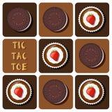 Tic-TAC-dito del piede del dolce e del biscotto della tazza Immagini Stock