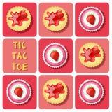 Tic-TAC-dito del piede del dolce e del cracker della tazza della fragola Fotografia Stock